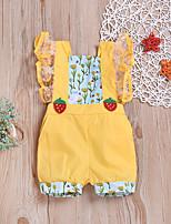 Недорогие -малыш Девочки Активный / Классический С принтом Цветочный / Рисунок / Классический Короткие рукава Хлопок 1 предмет Желтый