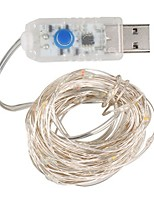 Недорогие -10 м Гирлянды 100 светодиоды SMD 0603 Тёплый белый / Белый / Разные цвета Водонепроницаемый / USB / Декоративная 5 V / Работает от USB 1шт