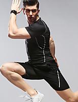 Недорогие -Муж. Вырез под горло Пэчворк Спортивный костюм Черный Темно-серый Серый Виды спорта Сплошной цвет Спортивный костюм Бег С короткими рукавами Большие размеры Спортивная одежда / Зима / Слабоэластичная