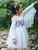 Недорогие -Дети Девочки Классический Мультипликация Длинный рукав До колена Полиэстер Платье Белый
