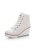 Недорогие -Жен. Полотно Весна Обувь на каблуках Туфли на танкетке Черный / Красный / Розовый