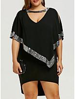 Недорогие -Жен. Классический А-силуэт Платье - Однотонный Ассиметричное