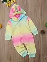 Недорогие -малыш Девочки Уличный стиль Контрастных цветов Длинный рукав Полиэстер 1 предмет Цвет радуги