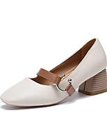 Недорогие -Жен. Полиуретан Весна & осень Обувь на каблуках На толстом каблуке Белый / Розовый / Темно-коричневый