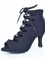 Недорогие -Жен. Обувь для латины Замша Ботинки Планка Тонкий высокий каблук Персонализируемая Танцевальная обувь Черный