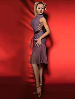 Недорогие -Латино Платья Жен. Выступление Спандекс С кисточками Без рукавов Платье