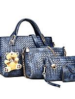cheap -Women's Zipper Straw / PU Bag Set Solid Color 4 Pieces Purse Set Black / Brown / White