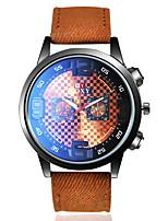 Недорогие -Муж. Спортивные часы Нарядные часы Наручные часы Кварцевый Кожа Коричневый / Небесно-голубой Повседневные часы обожаемый Cool Аналоговый Винтаж Мода - Коричневый Темно-красный Светло-синий / Один год