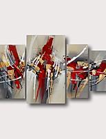 Недорогие -Hang-роспись маслом Ручная роспись - Абстракция Современный Modern Включите внутренний каркас / 4 панели