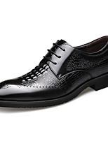 Недорогие -Муж. Комфортная обувь Наппа Leather Осень Туфли на шнуровке Черный
