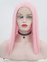 Недорогие -Синтетические кружевные передние парики Прямой Стиль Средняя часть Лента спереди Парик Розовый Розовый Искусственные волосы 12 дюймовый Жен. Регулируется / Жаропрочная / Для вечеринок Розовый Парик