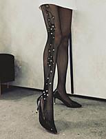 Недорогие -Жен. Тонкая ткань Колготы - Однотонный 30D Черный Один размер