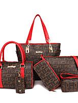 cheap -Women's Zipper PU Bag Set Lattice 6 Pieces Purse Set Black / Red / Beige