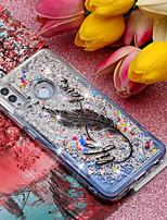 Недорогие -Кейс для Назначение Huawei Huawei Mate 20 Lite / Huawei Mate 20 Pro Движущаяся жидкость / С узором / Сияние и блеск Кейс на заднюю панель Перья / Сияние и блеск Мягкий ТПУ для Huawei Honor 10