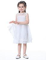 Недорогие -Дети Девочки Однотонный Кружева Хлопок Платье Белый