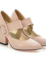 Недорогие -Жен. Полиуретан Весна Обувь на каблуках На толстом каблуке Черный / Красный / Миндальный