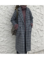 Недорогие -Жен. Повседневные Наступила зима Длинная Пальто, В клетку Европейский воротничок Длинный рукав Полиэстер Коричневый / Серый Один размер