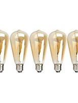 Недорогие -5 шт. 4 W 1000 lm E26 / E27 Круглые LED лампы ST64 4 Светодиодные бусины COB Диммируемая Тёплый белый 220-240 V / 110-130 V