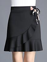Недорогие -женские труба выше / колено / русалка юбки - однотонные