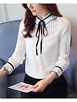 Недорогие -женская хлопковая тонкая блузка азиатского размера - однотонный воротник