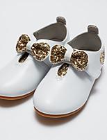 Недорогие -Девочки Обувь Полиуретан Весна / Осень Удобная обувь Туфли на шнуровке Бант / Пайетки для Дети / Дети (1-4 лет) Белый / Черный