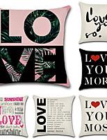 Недорогие -6 штук Хлопок / Лён Наволочки, Цитаты и выражения Буквы и цифры Современный стиль Простой Любовь