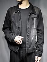 Недорогие -Муж. Повседневные Классический Осень Обычная Джинсовая куртка, Однотонный Рубашечный воротник Длинный рукав Полиэстер Черный XXXL / XXXXL / XXXXXL