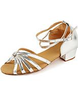 Недорогие -Девочки Обувь для латины Полиуретан На каблуках Толстая каблук Танцевальная обувь Золотой / Серебряный