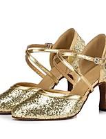Недорогие -Жен. Обувь для модерна Синтетика На каблуках Планка Толстая каблук Персонализируемая Танцевальная обувь Золотой / Серебряный