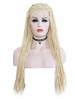Недорогие -Синтетические кружевные передние парики Матовое стекло / Косые оплетки Блондинка Свободная часть Отбеливатель Blonde Искусственные волосы 24 дюймовый Жен. Регулируется / Жаропрочная Блондинка Парик