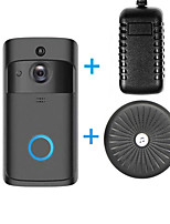 Недорогие -HQCAM Smart Wireless Video Doorbell Wifi doorbell Camera Intercom Door Bell Video doorbel Call Power adapter (Max support 32gb) WIFI Нет экрана (выход на APP) Гарнитура Один к одному видео домофона