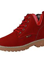 Недорогие -Жен. Замша Наступила зима Ботинки На толстом каблуке Ботинки Военно-зеленный / Красный / Верблюжий