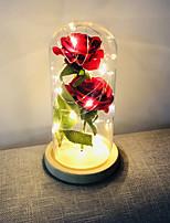 Недорогие -Brelong Роуз украшения дома светодиодные ночной свет идеально день святого валентина подарок стеклянная крышка деревянная основа