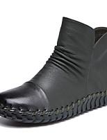 Недорогие -Жен. Наппа Leather Осень Ботинки На низком каблуке Ботинки Верблюжий / Винный / Хаки