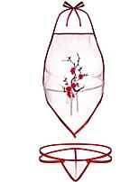 Недорогие -Женский Закрытый Набор из бюстгальтера и трусиков На бретелях - Однотонный Спандекс Белый Пурпурный Один размер