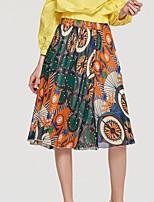 Недорогие -женские юбки миди свинг - цветочные