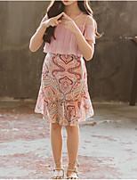 Недорогие -Дети / Дети (1-4 лет) Девочки Активный / Милая Пэчворк Оборки / Пэчворк / С принтом С короткими рукавами Искусственный шёлк / Полиэстер Платье Розовый
