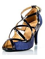 Недорогие -Жен. Обувь для латины Сатин На каблуках Планка Тонкий высокий каблук Персонализируемая Танцевальная обувь Синий / Розовый / Цвет-леопард
