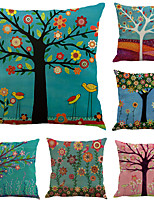 Недорогие -6 штук Хлопок / Лён Наволочки, Деревья / Листья Лист Цветочный принт Праздник тропический