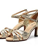 Недорогие -Жен. Обувь для латины Синтетика На каблуках Тонкий высокий каблук Танцевальная обувь Золотой / Черный / Серебряный