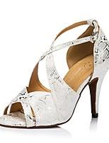 Недорогие -Жен. Обувь для латины Нейлон На каблуках В горошек Тонкий высокий каблук Персонализируемая Танцевальная обувь Серебряный