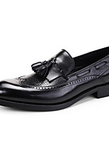 cheap -Men's Leather Shoes Nappa Leather Spring & Summer / Fall & Winter Casual / British Loafers & Slip-Ons Non-slipping Black / Wine / Party & Evening