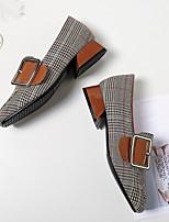 Недорогие -Жен. Полиуретан Весна Обувь на каблуках На толстом каблуке Серый / Миндальный