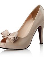 Недорогие -Жен. Лакированная кожа Лето Милая Обувь на каблуках Платформа Открытый мыс Бант Черный / Миндальный