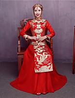 Недорогие -Взрослые Жен. Китайский дизайн В китайском стиле Оса-Waisted Cheongsam Назначение Выступление Помолвка Девичник Шелк Хлопок Длинный Чонсам