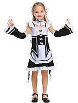 cheap -Maid Costume Dress Masquerade Flower Girl Dress Girls' Movie Cosplay A-Line Slip Cosplay Halloween Black Dress Collar Sleeves Halloween Carnival Masquerade Polyester / Headwear / Headwear