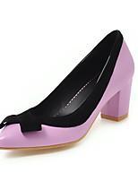 Недорогие -Жен. Полиуретан Весна лето Классика / Английский Обувь на каблуках На толстом каблуке Заостренный носок Бант Черный / Лиловый / Розовый