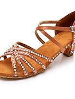 Недорогие -Жен. Обувь для латины Сатин На каблуках Стразы Толстая каблук Персонализируемая Танцевальная обувь Черный / Темно-коричневый