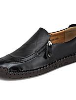 Недорогие -Муж. Комфортная обувь Кожа Весна лето На каждый день / Английский Мокасины и Свитер Дышащий Черный / Темно-русый / Темно-коричневый