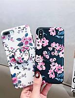 Недорогие -Кейс для Назначение Apple iPhone XR / iPhone XS Max со стендом / Матовое Кейс на заднюю панель Цветы Мягкий ТПУ для iPhone XS / iPhone XR / iPhone XS Max